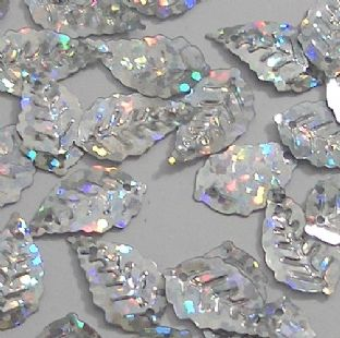 Small 17mm Hologram Silver Leaf Sequins x 150